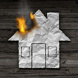 House Fire Concept. And residential smoke disaster and burning destruction symbol as crumpled paper shaped as a family home residence as a 3D illustration on Royalty Free Stock Image