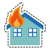 house on fire design. House on fire icon. Insurance health care security and protection theme.  design. Vector illustration Stock Photo