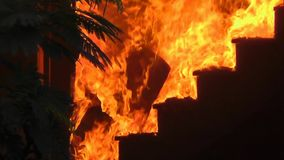 House Fire Disaster - Burning Stairs stock video