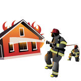 House on fire. Firefighters try to extinguish burning house Stock Image