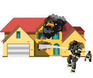 House on fire with fireman. Vector illustration Stock Photography