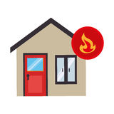 House with fire flame isolated icon. Vector illustration design Royalty Free Stock Image