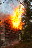 House fire. House on fire, gable engulfed in flames Stock Image