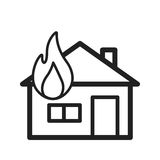 House on Fire. Fire, house, heat icon vector image. Can also be used for firefighting. Suitable for mobile apps, web apps and print media Royalty Free Stock Photo