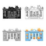 House on fire icon cartoon. Single silhouette fire equipment icon from the big fire Department cartoon. Royalty Free Stock Photo