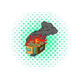 House on fire icon, comics style Stock Photo