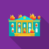House on fire icon flat. Single silhouette fire equipment icon from the big fire Department flat. Royalty Free Stock Images