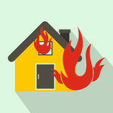 House on fire icon, flat style. House on fire icon in flat style on a light blue background Stock Images