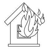 House on fire icon, outline style. House on fire icon. Outline illustration of house on fire vector icon for web Royalty Free Stock Images