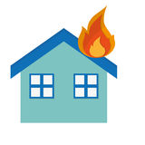 House on fire icon Stock Image