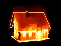 house on fire stock photography
