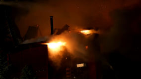 House on fire. Inferno conflagration. House building on fire at night. Inferno conflagration Royalty Free Stock Photography