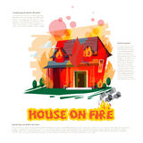 House on fire with typographic design - vector. Illustration Royalty Free Stock Photo