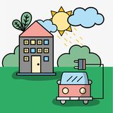 House and firetruck with power cable. Vector illustration Royalty Free Stock Images