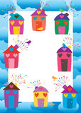 House firework colorful bird frame. This illustration is design love house with bird decoration on white color template in blue cloud background frame Royalty Free Stock Photos