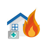 House and first aid kit  icon. Flat design house and first aid kit  icon vector illustration Stock Photo