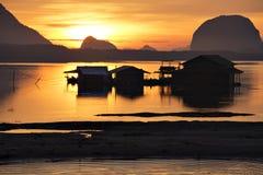 House of Fisherman on Phang-gna bay at Sunrise, Sam Chong Tai Fisherman Village, Thailand Royalty Free Stock Photos