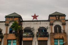 House with a five-pointed star on the roof, city Bintulu, Borneo, Sarawak, Malaysia. House with a five-pointed star on the roof city Bintulu, Borneo, Sarawak royalty free stock photography