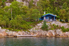 House in Fjord Lysefjord - Norway Stock Photography