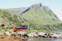 House on the fjord of Tangstad Stock Photos