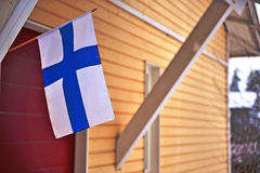 House with flag in Finland Royalty Free Stock Photography