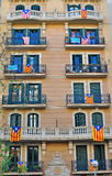 House with flags of Catalonia Stock Photo