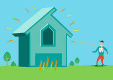 House in flames or with Asbestos or Radon Radiation. Editable Clip Art. Man inhales dangerous invisible gases from a house Stock Image