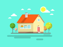 House. Flat Design Urban Landscape Stock Photos