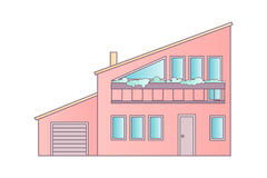 House. Flat Design Vector Abstract Architecture Illustration. Stock Photography