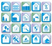 House Flat Icons Vector Collection. A set of flat design icons for home and real estate agencies. Modern flat vector collection icons Stock Photography