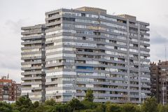 House of flats in Madrid. House of flats in Arganzuela district of Madrid, capital city of Spain stock image