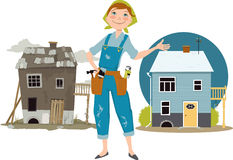 House flipper. Happy cartoon woman in overalls with tools standing in front of a house shown before and after renovation, EPS 8 vector illustration, no Royalty Free Stock Images