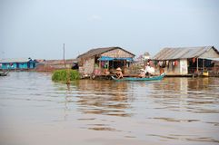 House floating. On the mekong delta cambodia Stock Images
