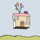 House Floating Away Royalty Free Stock Photo