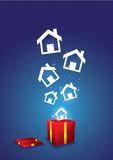 House floating from gift box Stock Photography