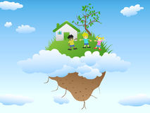 House on floating island. The house with happy kids playing on floating island in blue sky with clouds Royalty Free Stock Image