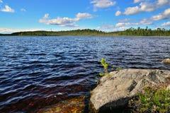 house floden för republiken karelia för den karelian liggandenaturen den norr Pongoma flod, norr Karelia, Ryssland Arkivbilder