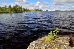 house floden för republiken karelia för den karelian liggandenaturen den norr Sjö Pongoma, norr Karelia, Ryssland Royaltyfri Fotografi