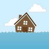 House Flood. House floating in water flood Royalty Free Stock Image
