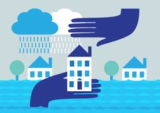 House Flood Protection stock illustration