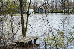 House Flood. River flood inundated a house beside a river royalty free stock photos
