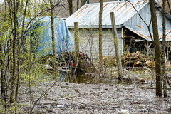 House Flood. River flood inundated a house beside a river royalty free stock photo