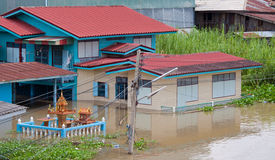 House flood in Thailand. Flood waters overtake house in Thailand stock photos