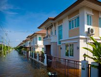 House flood in Thailand. Flood waters overtake house in Thailand royalty free stock photography
