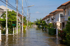 House flood in Thailand. Flood waters overtake house in Thailand royalty free stock images