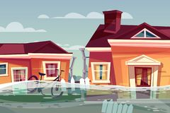 House in flood vector deluge water flow in street. Houses in flood vector illustration of buildings under deluge water flowing in street. Nature disaster vector illustration