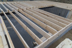 House floor joist. 2 x 10 wooden floor joist of a house construction Royalty Free Stock Photography