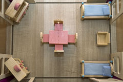 House floor plan. Toy house floor plan view from the top royalty free stock photography