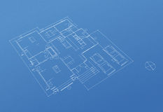 House floor plan blueprint Stock Image