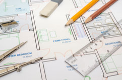 House floor plan with drawing compass Royalty Free Stock Images